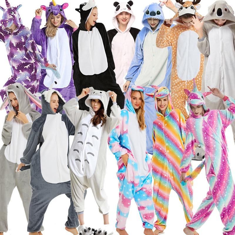 New Unicorn Onesies Unisex Stitch Kigurumi Animal Women's Pajamas Adults Winter Warm Sleepwear Anime Costumes Cartoon Jumpsuit