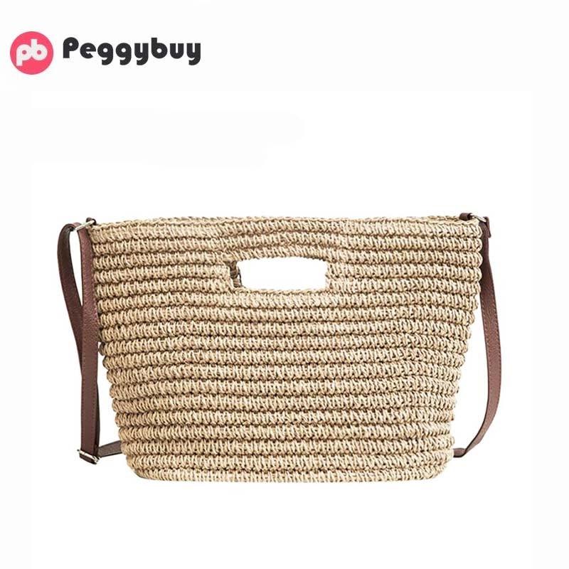 Summer Women Messenger Straw Bag Weave Shoulder Tote Ladies Beach Bag Handbag