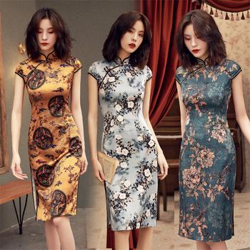 Moda damska Qipao panie chińskie suknie ślubne w stylu vintage wieczór Party Sexy Cheongsam fantazyjne eleganckie nowości długie lniane szaty tanie i dobre opinie Akrylowe Women cheongsam Suknem Qipao dress