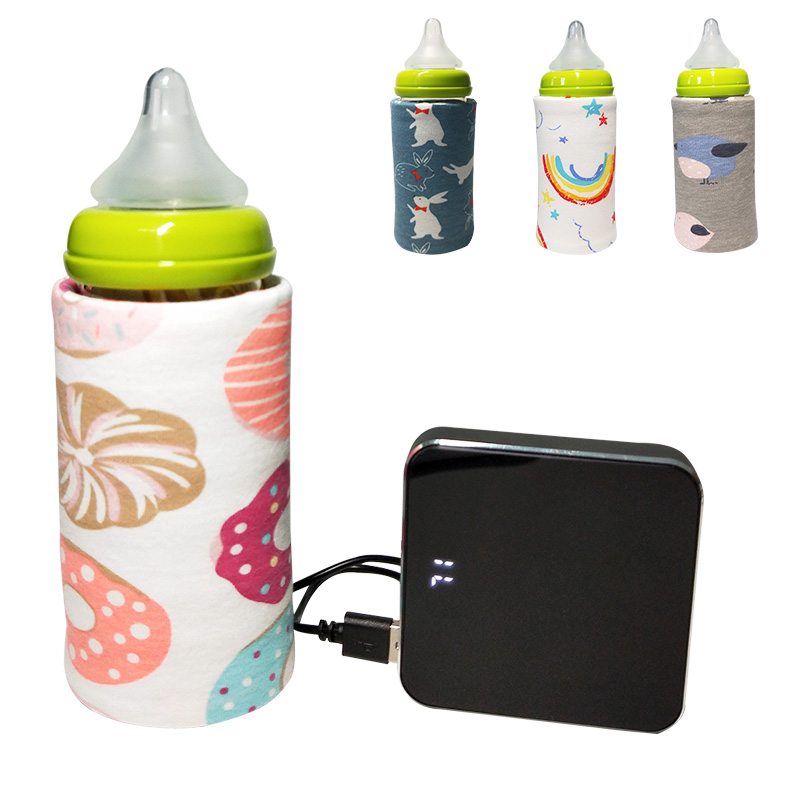 Portable Bottle Warmer Heater Travel Baby Kids Cartoon Milk Water USB Cover Sleeve Pouch Infant Heating Film