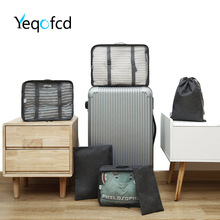 Yeqofcd Packing Cubes 6 PCS Travel Luggage Bag Organizers Set Cationic Oxford Cloth Clothing Sorting Packages Mesh Bags Unisex