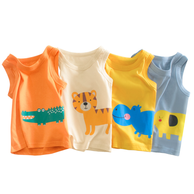 2021 Summer Children Vests Clothes 100% Cotton Animals Cartoon Baby Boys Girls Tops Clothes Kids Cute Bottoming Undershirts