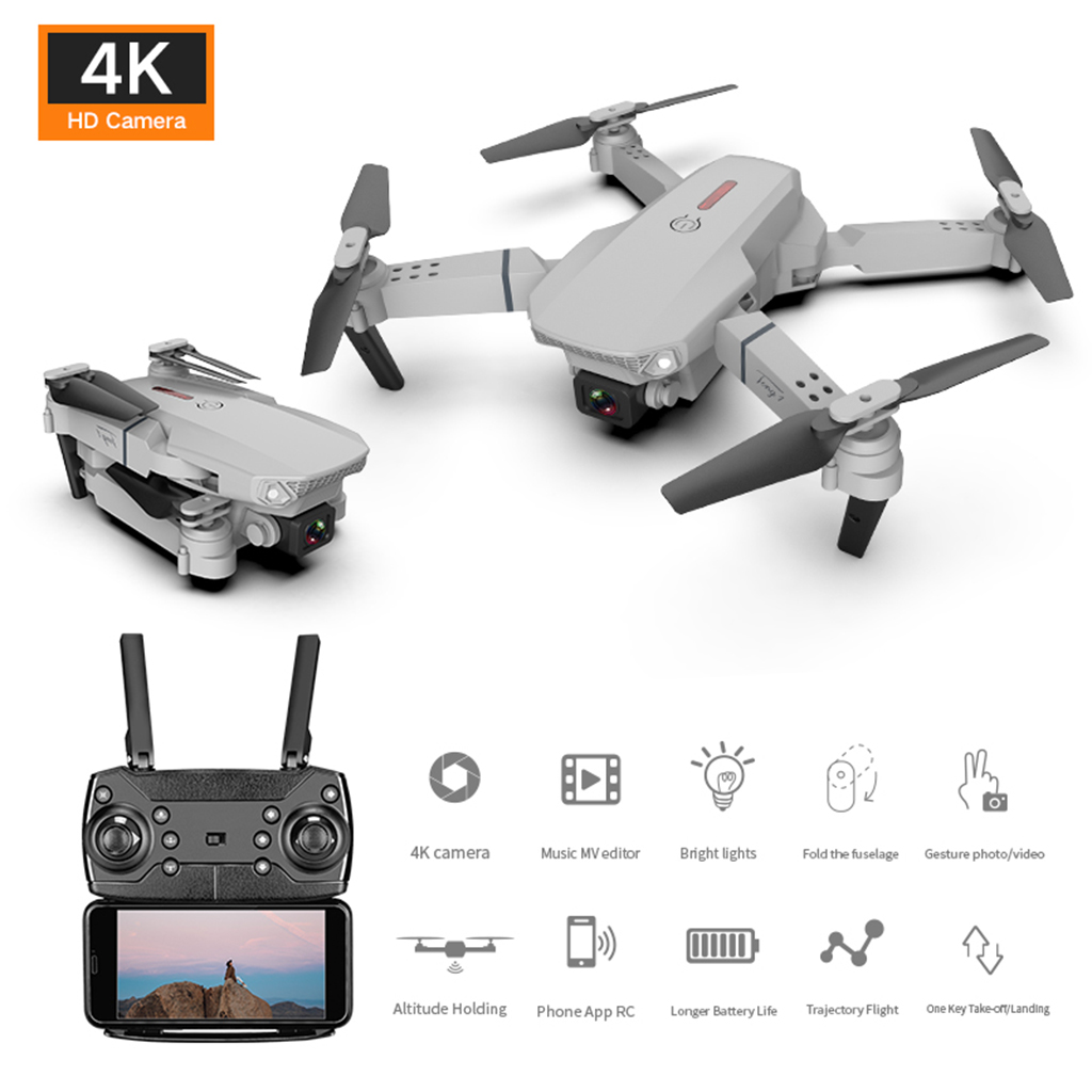 E88 RC Drones with 4K HD WiFi Dual Camera Live Video Foldable Quadcopter Altitude Hold, Gesture Control, Headless Mode
