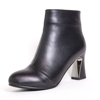 Genuine Leather Ankle Boots Women Autumn Winter High Thick Heel Shoes G271 Fashion Woman Round Toe Black Green Side Zipper Boots prova perfetto punk black leather ankle boots woman round toe rivet belt buckle square med heel shoes women fashion martin boots