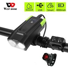 4000 мАч умная Индукционная велосипедная передняя фара, USB перезаряжаемая 800 люмен светодиодная велосипедная лампа с роговым велосипедным фонариком