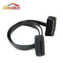 60Cm 16Pin Obdii Obd 2 OBD2 Verlengkabel Connector Diagnose Tool ELM327 Adapter Platte Dunne Als Noodle Mannelijke om Vrouwelijke