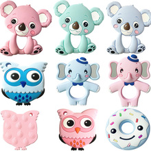 Silicone Teethers Animal Koala Owl Elephant Baby Ring Teether Silicone Chew Char