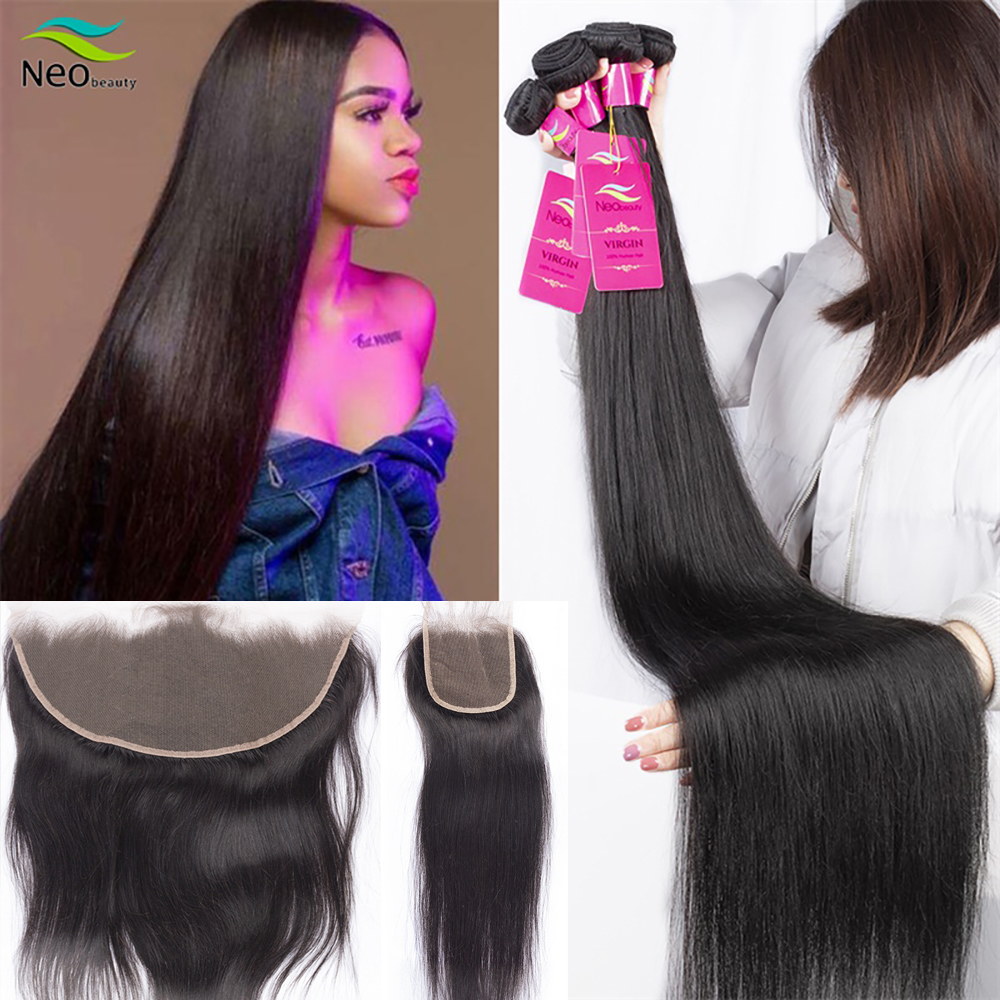 9A Brazilian Human Straight Hair Bundles With Closure Preplucked Swiss Lace Super Soft 100% Human Hair 3 Bundles With Closure