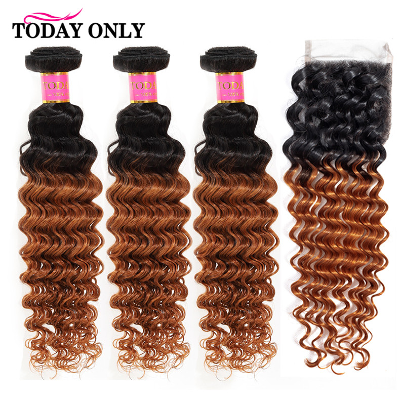 TODAY ONLY Peruvian Deep Wave 3 Bundles With Closure Remy Human Hair Bundles With Closure Ombre 1b/30 Bundles With Lace Closure