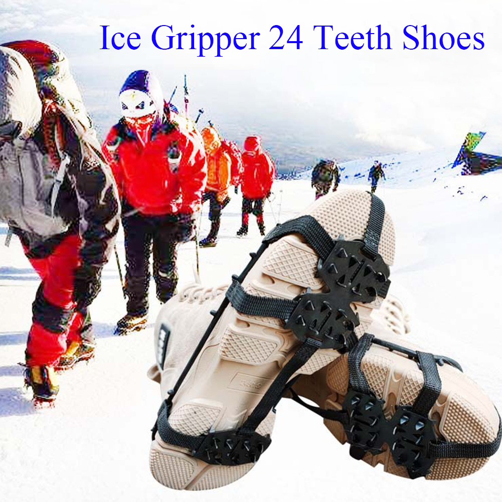 Ice Gripper Spikes Sports Cleats Outdoor 24 Teeth Portable Climbing Hiking Winter Shoes Crampons Snow Walking Multipurpose