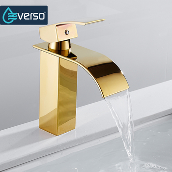 Golden Deck Mount Chrome Waterfall Basin Sink Faucet Bathroom Vanity Vessel Sinks Mixer Tap Cold And Hot Water Mixer Tap basin faucets brass oil rubbed bronze black bathroom faucet deck mount vanity vessel sinks mixer tap cold and hot water tap 7269