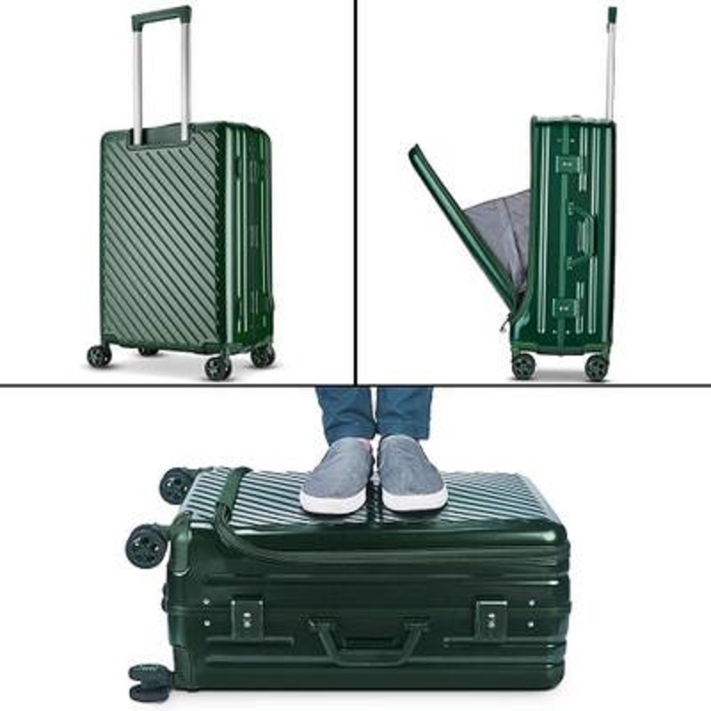Aluminum frame Travel bag with Front flip business computer Rolling Luggage bag Spinner brand Trolley Suitcase