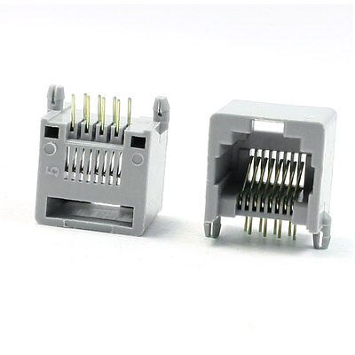 30 Pcs Gray Plastic Shell 8P8C <font><b>RJ45</b></font> PCB <font><b>Jack</b></font> Female Connector 14.5mm Height image