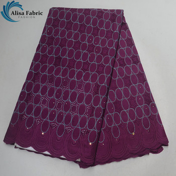 Alisa 2019 Embroidery African Dry Lace Fabrics 100% Cotton Lace Fabric 5 Yards/pcs Swiss Lace with stones For DIY Apparel Sewing