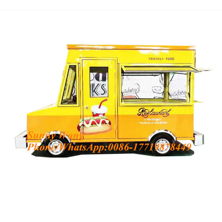 Yellow Color Length Customized American Standards Mobile Food Truck Food Trailers Waterfront Mobile Food Carts For Rent