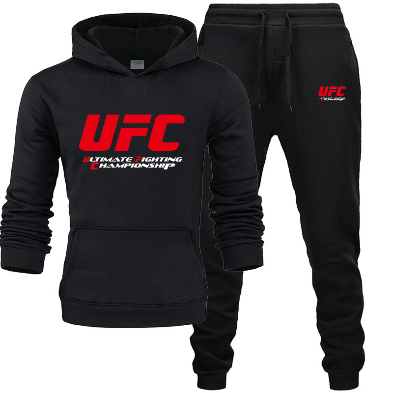 New 2019 Brand UFC Tracksuit Fashion Men/Women Sportswear Two Piece Sets All Cotton Fleece Thick Hoodie+pants Sporting Suit Male