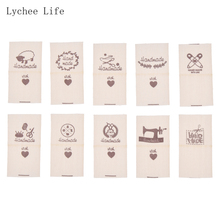 Lychee Life 50Pcs/lot Handmade Sheep Animals Cloth Garment Labels Hand Made Label Tags For Diy Sewing Crafts