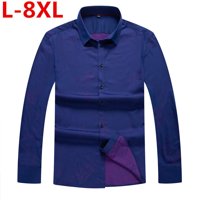 8XL 7XL Plus Size  Men's Classic Print Shirt Long Sleeve Dress Shirt Men Business Formal Shirts Mens Clothing Camisa Masculina