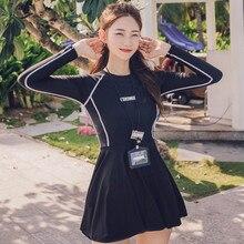 Skirt Swimsuit Long-Sleeve Rash-Guard Surfing Sun-Protetion Women Korea Wackdaria 2pieces