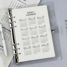 2021 Calendar for 6 hole Notebook Planner Refill Transparent A5 A6 Home Page Index Divider Journals Supplies