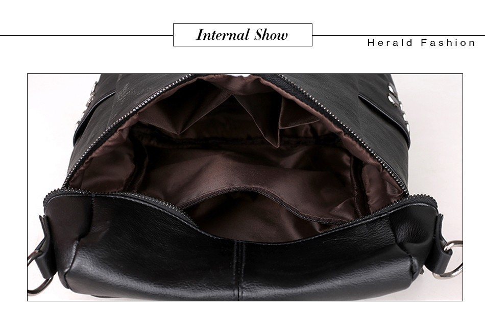 H193d3ac67ca7458984e76a74ad33fb9ez Herald Fashion Women's PU Leather Backpack School Bags For Teenage Girls Large Capacity Backpack Laptop Bag Drop Shipping