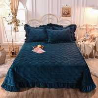3/5Pcs Luxury Bedspread Coverlet with Pillow shams Quilted Soft Warm Bed Cover Light Tan, Navy Blue for Single and Double bed