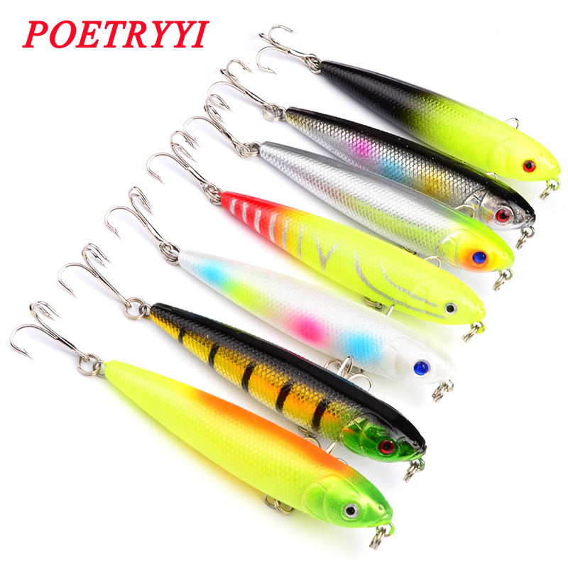 1PCS Top Water Artificial Lure Hard Plastic Fishing Lure Surface Pencil Minnow Bait 8.6g 8cm Hook Size 6# 30