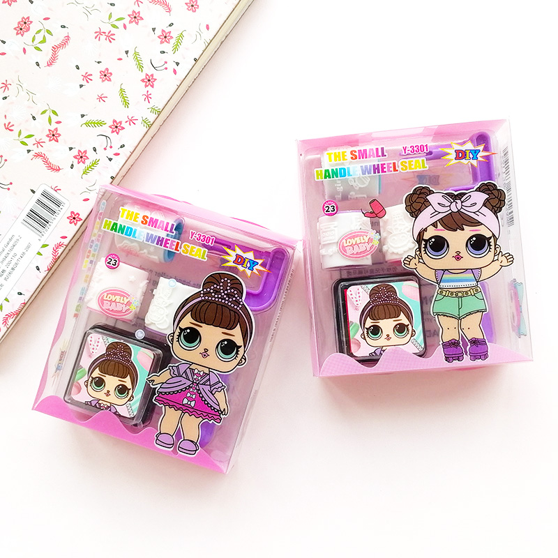 Lovely Girl Dolls Child DIY Scrapbook Kids Roller Stamp Set Cartoon Surprise Kawaii Baby Stamps Scrapbooking Reward Toy Supplies
