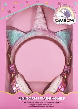 Cartoon Unicorn Wired Headphone Girls Daughter Music Stereo Earphone Computer Phone Headset Kids Gift Cute Unicorn With Mic 2