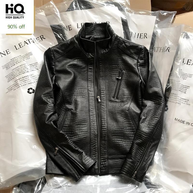 Top Brand Men Slim Fit Crocodile Pattern Sheepskin Genuine Leather Biker Jacket Stand Collar Coats Windproof Motorcycle Jackets
