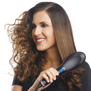 Electric Hair Straightener Brush Ionic Hair Straightening Iron Professional Ceramic Hair Styling Massager Tools Heating Hot Comb ushow professional ceramic electric hair straightener brush detangling hair straightening iron comb smooth brush styling tools