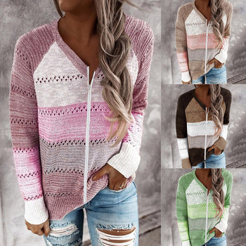 New Women Twist knitted hoodies Zipper Casual stripe Patchwork V-Neck Long Sleeves Tops Harajuku Hoodies Streetwear Pullover Top twist front v neck striped top