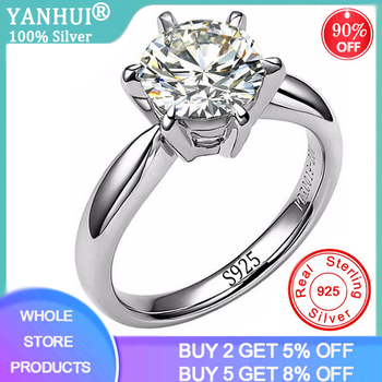 YANHUI With Certificate Real Natural Solid 925 Sterling Silver Rings Luxury 2 Carat Lab Diamond Wedding Rings for Women R9256 yanhui silver 925 jewelry eternity 1 carat lab diamond wedding rings luxury original 925 silver rings gift for women jz068