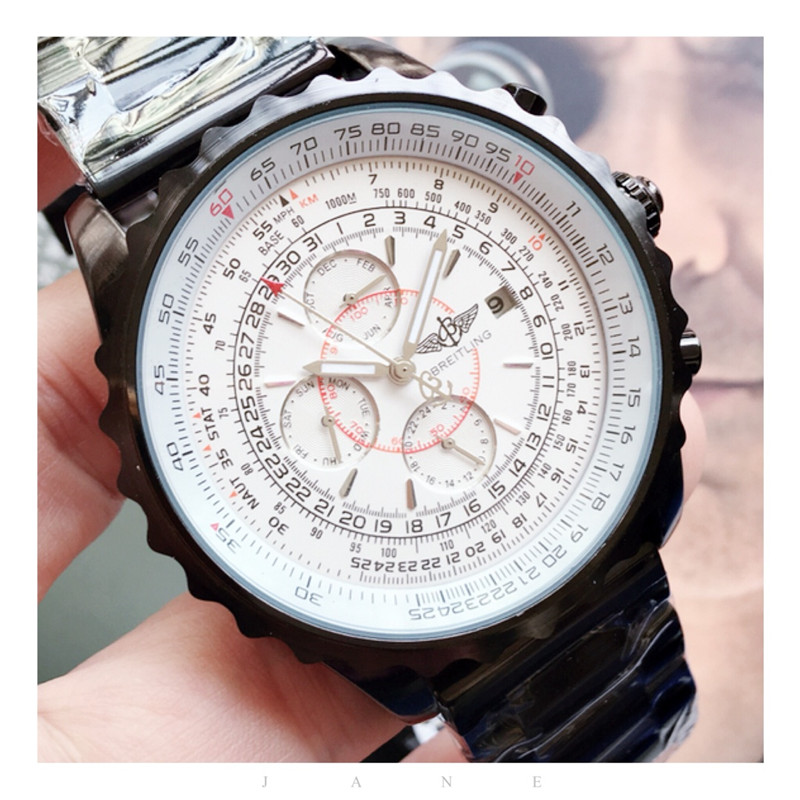 Breitling Luxury Brand Mechanical Wristwatch Mens Watches Quartz Watch With Stainless Steel Strap Relojes Hombre Automatic