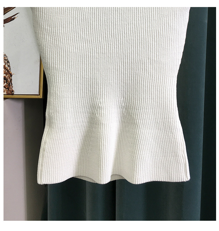 H193e07569cad4fb1be91ffad9e0807d61 2020 New Women Summer Sexy Square Collar Knitted T Shirts Pure Color Women Short Sleeve Slim T Shirt s For Women White Tees