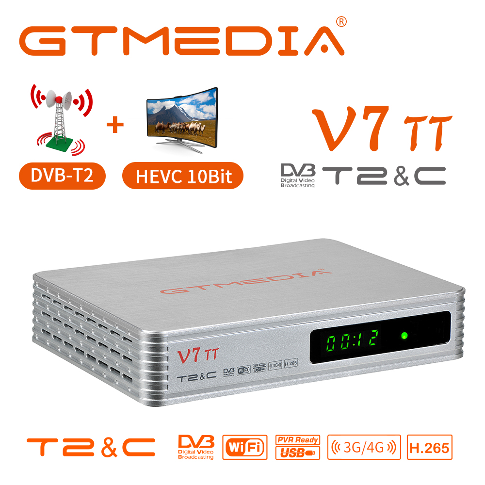 GTMEDIA V7 TT HD 1080p sintonizador de Tv DVB-T2 DVB-C Combo TV BOX H.265 HEVC 10bit para España receptor USB velocidad completa 3G dongle