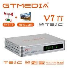 GTMEDIA V7 TT HD 1080p Tv Tuner DVB-T2 DVB-C Combo TV BOX HEVC H.265 10bit para Espanha 3G dongle receptor USB Plena velocidade