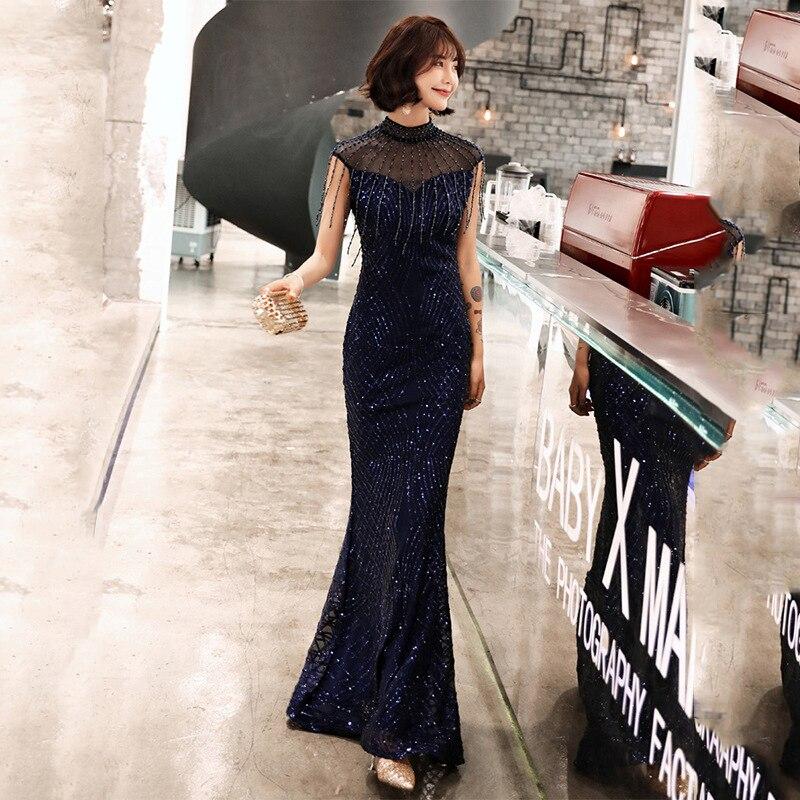 Evening Gowns Navy Blue Shiny Sequin Tassel Formal Party Dress Mermaid Long Elegant Robe De Soiree High Collar Girls Dress F263