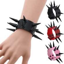 Эмо браслет с шипами веганские кожаные панк браслеты goth девушка