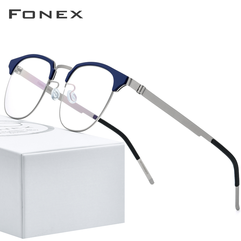 FONEX Acetate Alloy Glasses Frame Men Women Vintage Round Myopia Optical Half Prescription Eyeglasses Screwless Eyewear 98627