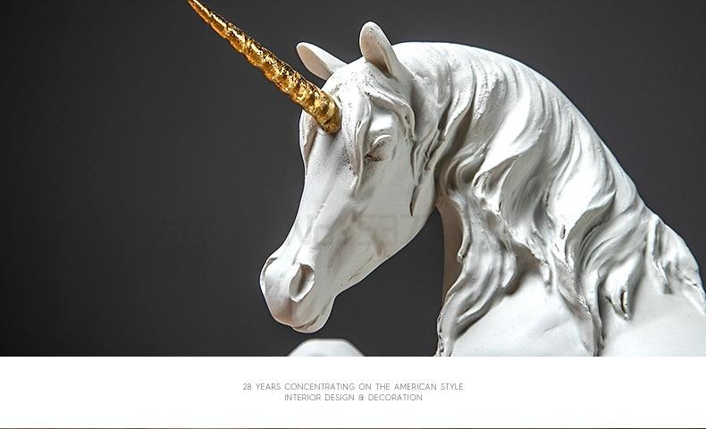 Nordic resina unicórnio cavalo artesanato varanda sala