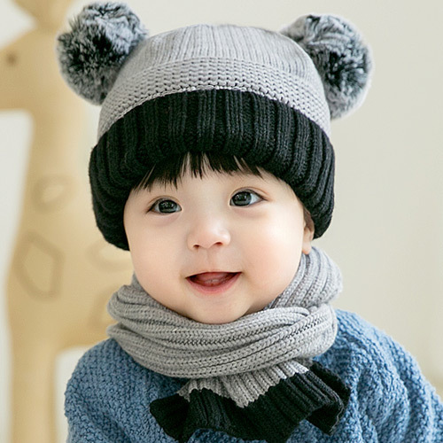 Satin Weave Boys Girls Baby Cartoon Hair Ball Knitted Warm Scarf Hat Set Winter Cute For 2-28month Kids