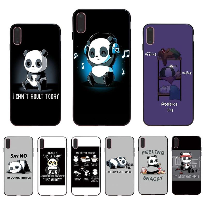 Cute funny cartoon panda Soft TPU phone case Coque for iphone X XR 10 11 pro XS max 8 7 6 6s plus 5s 5 se cover shell Funda Capa