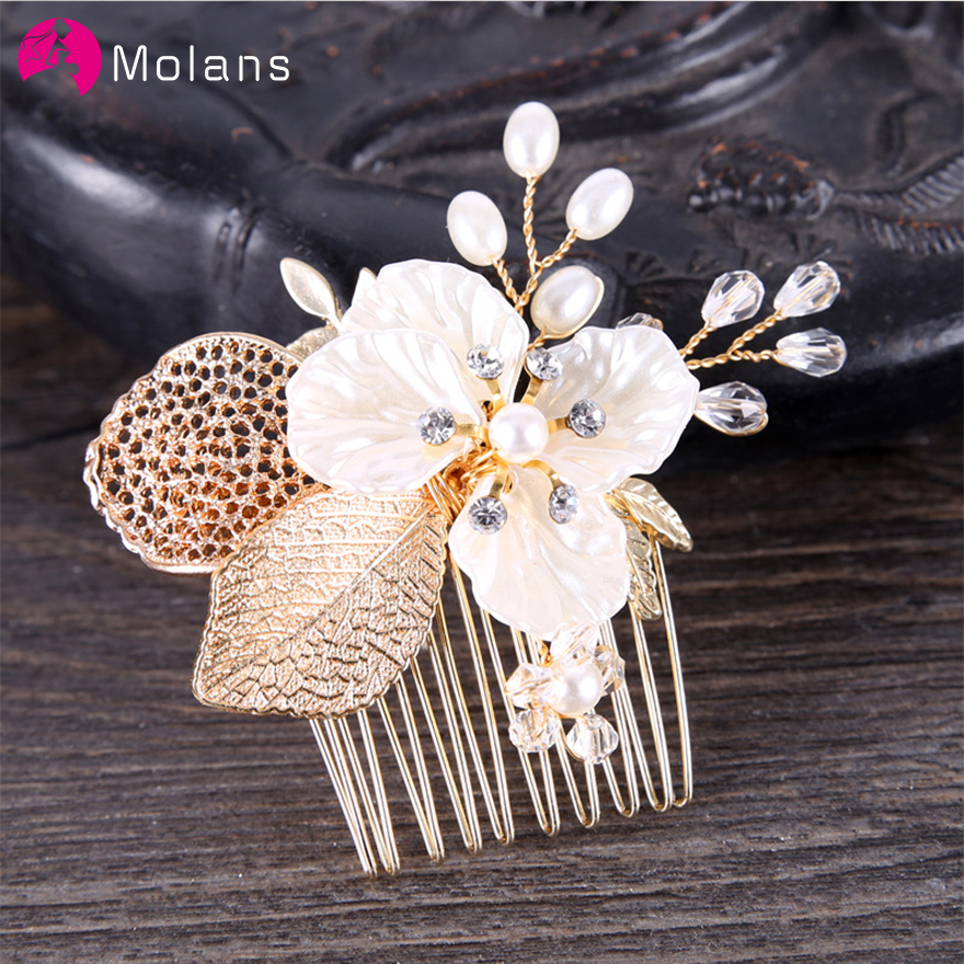 MOLANS Golden Leaves Hair Combs Female Sturdy Alloy Headwear Bridal Flower Pearl Ornaments Brides Party Wedding Hair Accessories
