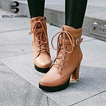 BONJOMARISA New Big Size 34-43 Elegant Ladies Platform Booties lace-up High Chunky Heels Boots Women 2019 OL Shoes Woman