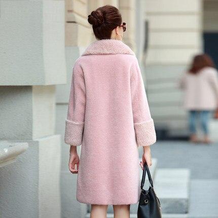 Real Fur Coat Women Sheap Shearing Jacket 2020 Winter Warm 100% Wool Overcoat Female Pink Long Parka Manteau Femme Hiver LX2500