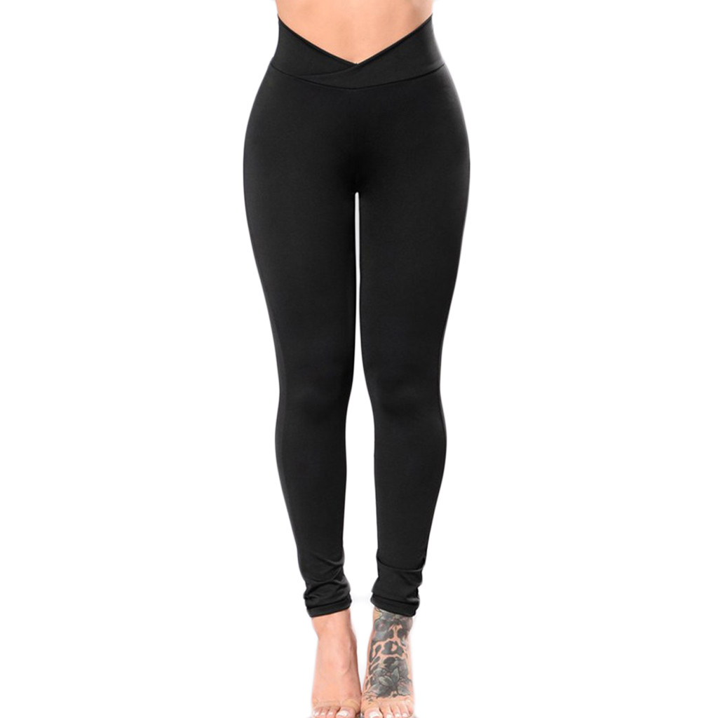 Women Compression Fitness Pants Base Layer Pants Solid Black Leggings Hot Sale Casual High Waist #P10