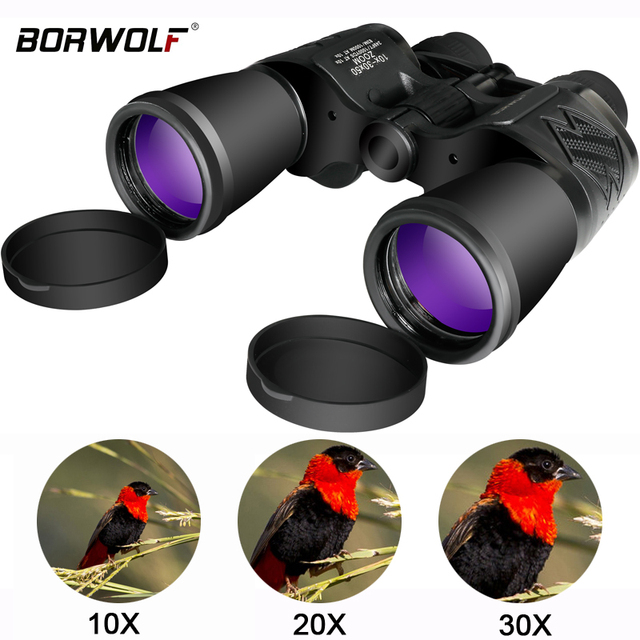 Borwolf 10-30X50 High Magnification HD Professional Zoom powerful Binoculars Light night vision for hunting telescope monocular 1