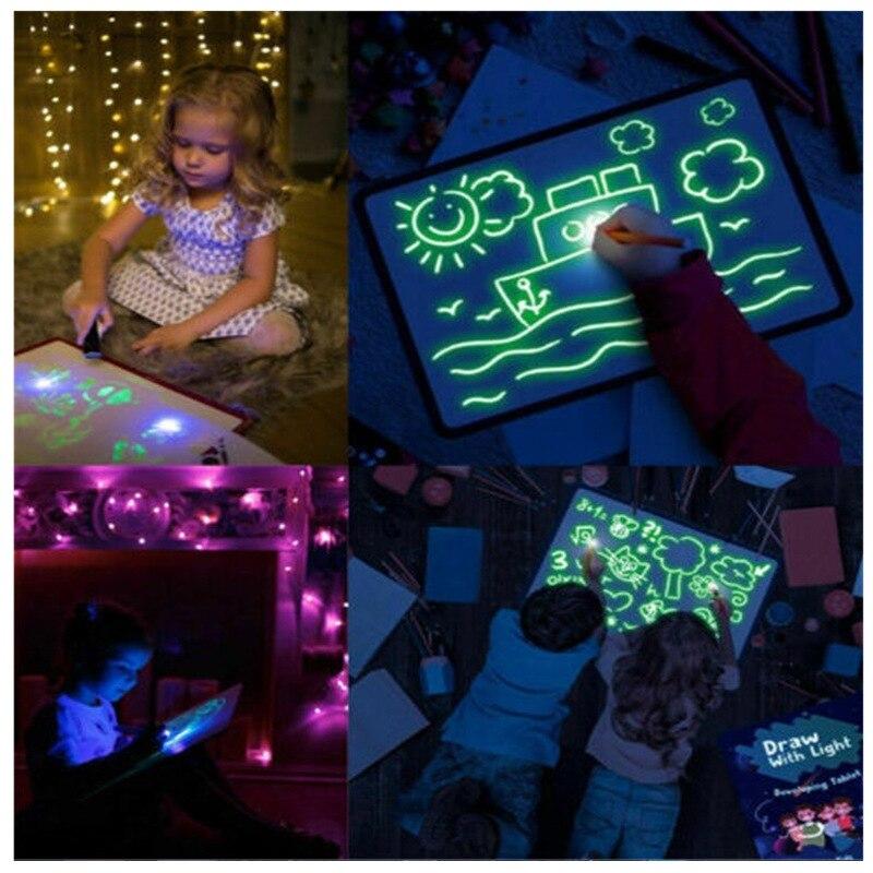 LED Fluorescent Magic Light Drawing Board Draw With Light Fun Magic Board Kids Learning Writing Graffiti Educational Toy Gift