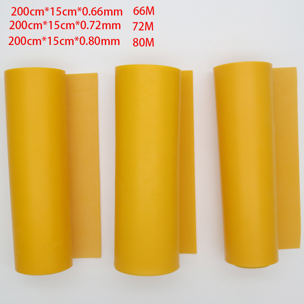 Good quality roll rubber Yellow color flat rubber bands 200cm*15cm*0.66mm 0.72mm 0.8mm for DIY slingshot huinting(China)
